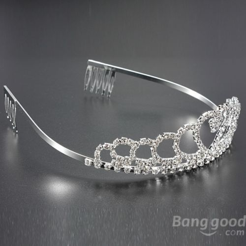 Wedding Bride Crystal Rhinestones Heart-shaped Crown Hair Tiara
