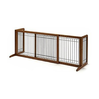 Wood Freestanding Pet Gate, Large, Autumn Matte Finish **SHIPS FROM U.S**