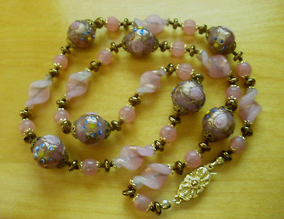 Vintage Wedding Cake Pink Venetian Glass Bead Necklace