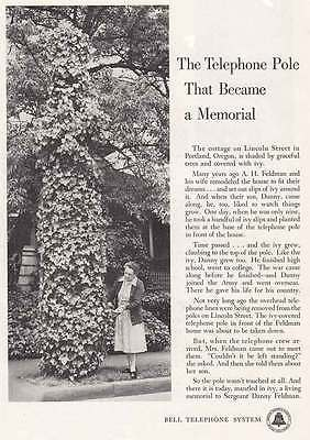 1955 Bell Telephone: Telephone Pole Memorial Print Ad (5382)