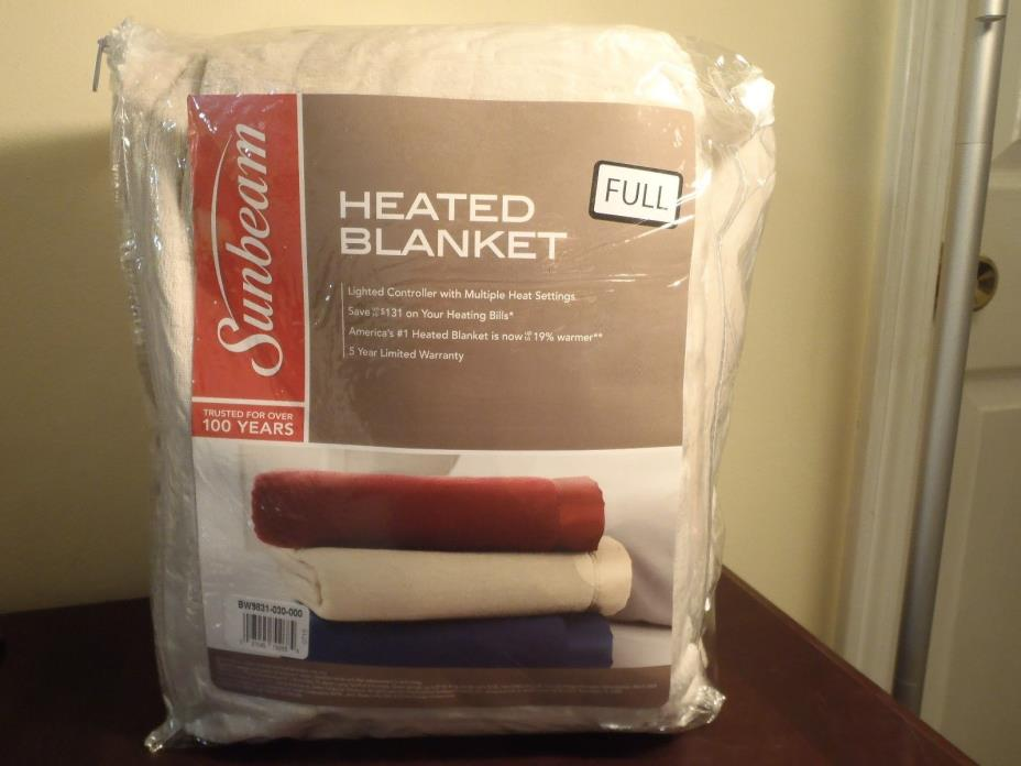 SUNBEAM HEATED BLANKET FULL SIZE WITH MULTI HEAT SETTING. NEW