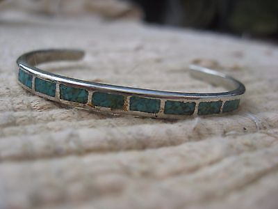 Vintage Inlay Rectangle TURQUOISE STERLING SILVER Cuff BRACELET 9 gram