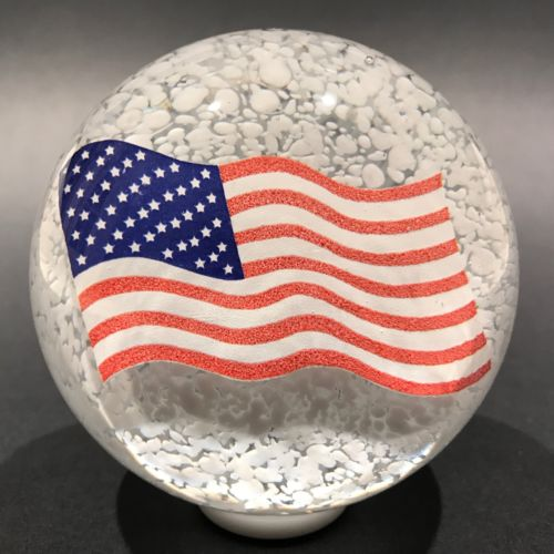Vintage American Studio Art Glass Paperweight Encased US Flag Decal on White