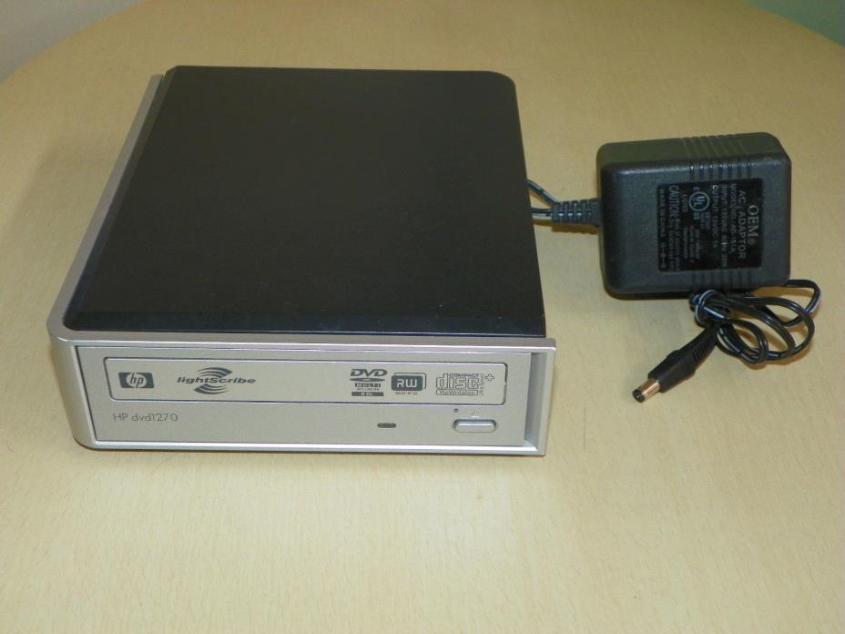 HP dvd1270 External Multiformat lightScribe CD/DVD Writer with Power Adapter