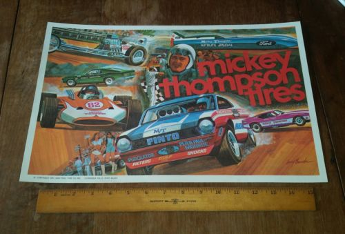1971 Max-Trac Tire Co.-MICKEY THOMPSON TIRES Promotional Poster- LARRY CHURSKI