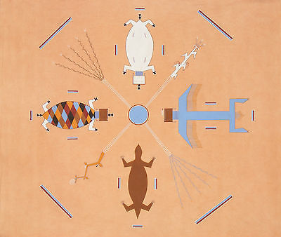 Water Creatures - native american indian navajo sand painting memory blanket