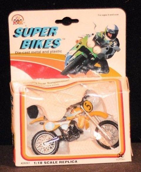 VINTAGE Super Bikes Suzuki RM 125 Dirt Bike # 5 ZYLMEX Toys 1:18 Motorcycle 1993