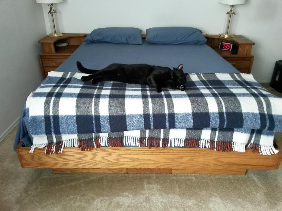 Queen Oak platform bed