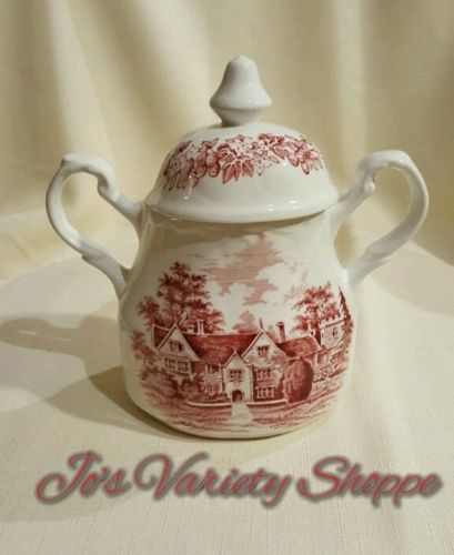 J & G MEAKIN ROMANTIC ENGLAND TRANSFERWARE IN RED - SUGAR BOWL WITH LID