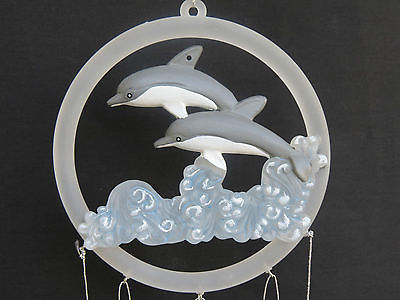 Acrylic Ring Dolphins Wind Chime Home Indoor Outdoor Yard Patio Garden Decor