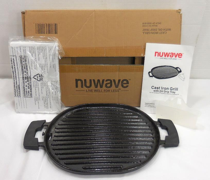NUWAVE PRECISION INDUCTION CAST IRON GRILL WITH DRIP TRAY 31104 5245