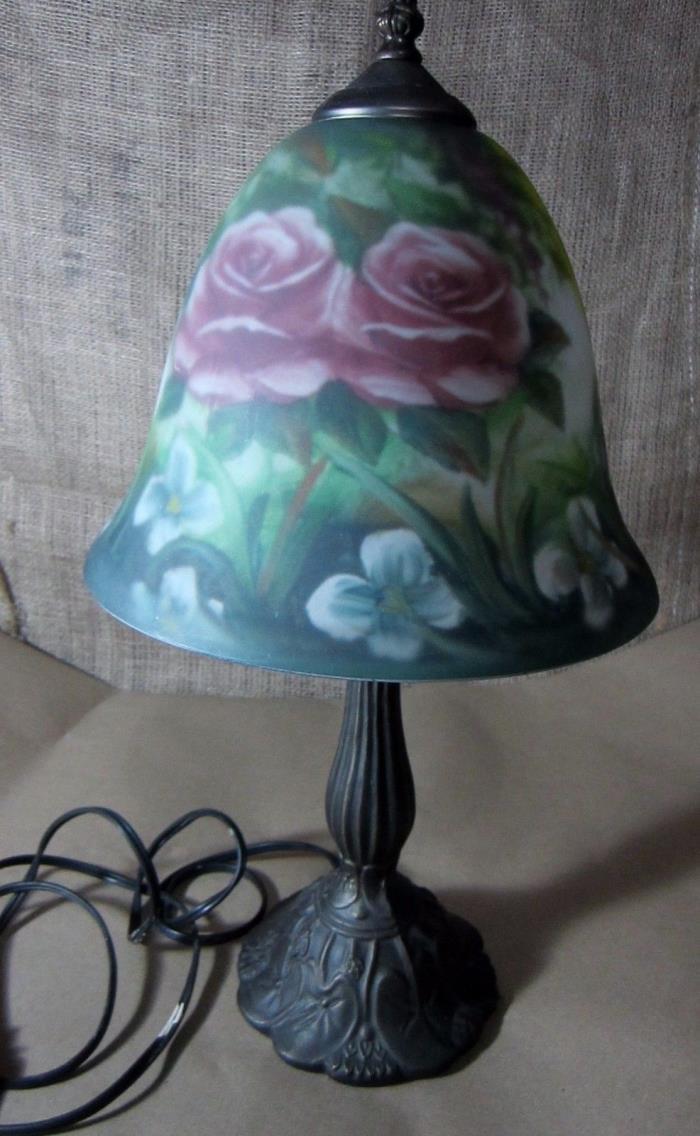 Metal LILY PAD LAMP LOTUS BASE LEAF Painted Glass Shade
