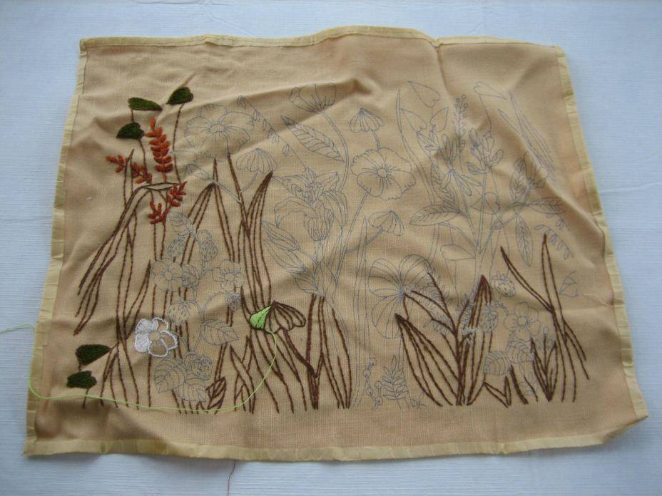 Partially Finished Burlap Floral Embroidery, Crewel Pillow Top / Wall Hanging