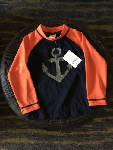 NWT Gymboree Kids Boys Anchor Full Sleeve Orange Swim wear Swim Shirt / top 2T
