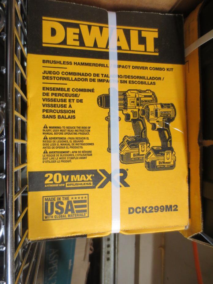 DeWalt 20V Brushless Cordless Kit Li-Ion NEW DCK299M2 Impact Driver Hammerdrill