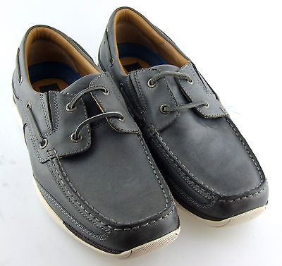 250799 MS38 Men's Shoes Size 9 M Gray Leather Boat Shoes Johnston & Murphy