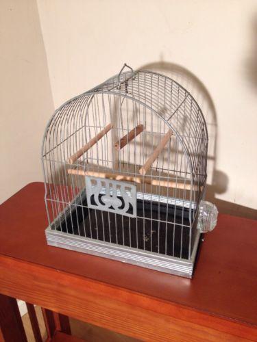 VINTAGE ART DECO HENDRYX DOME TOP METAL WIRE BIRD CAGE w SWING & GLASS FEEDER