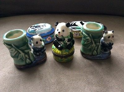 Panda collection 2 toothpick holders 1 pill box 2 dresser trinket boxes