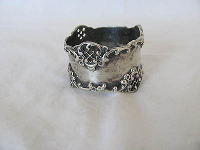 Antique Sterling Napkin Ring Raised Relief Monogram