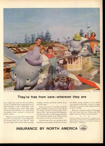 1958 Flying Dumbo Ride Disneyland Photo Family Insurance Print AD