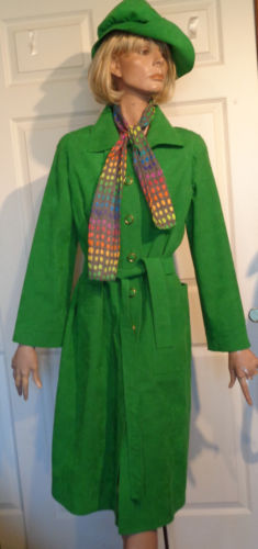 Vintage Green Ultrasuede Coat and Matching Hat Rainbow Lining and Scarf B40