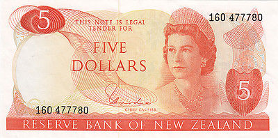 1981 New Zealand $5 Bank Note – Reserve Bank