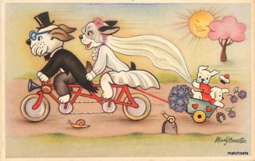 1940s Dressed wedding dogs Children Cart Mary Daester postcard 6517