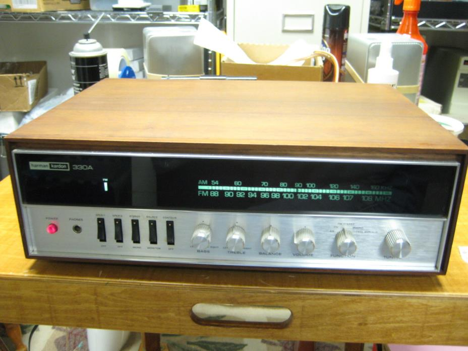Vintage Harman Kardon 330A Stereo Receiver w/Wood Cabinet - VERY NICE