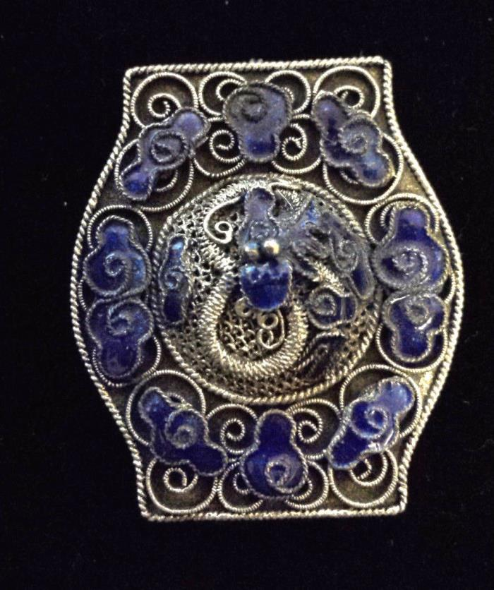 BLUE CLOISONNÉ DRAGON on Antique Silver Filagree Dress/Fur Clip or Pin  Delicate