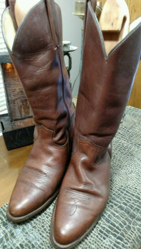 FRYE VINTAGE USA BROWN LEATHER WESTERN ENGINEER MOTORCYCLE BOOTS SIZE10 D