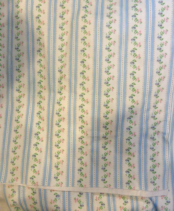 Vintage heavy Ticking fabric, blue white flowers, 4+ yds, 28 wide