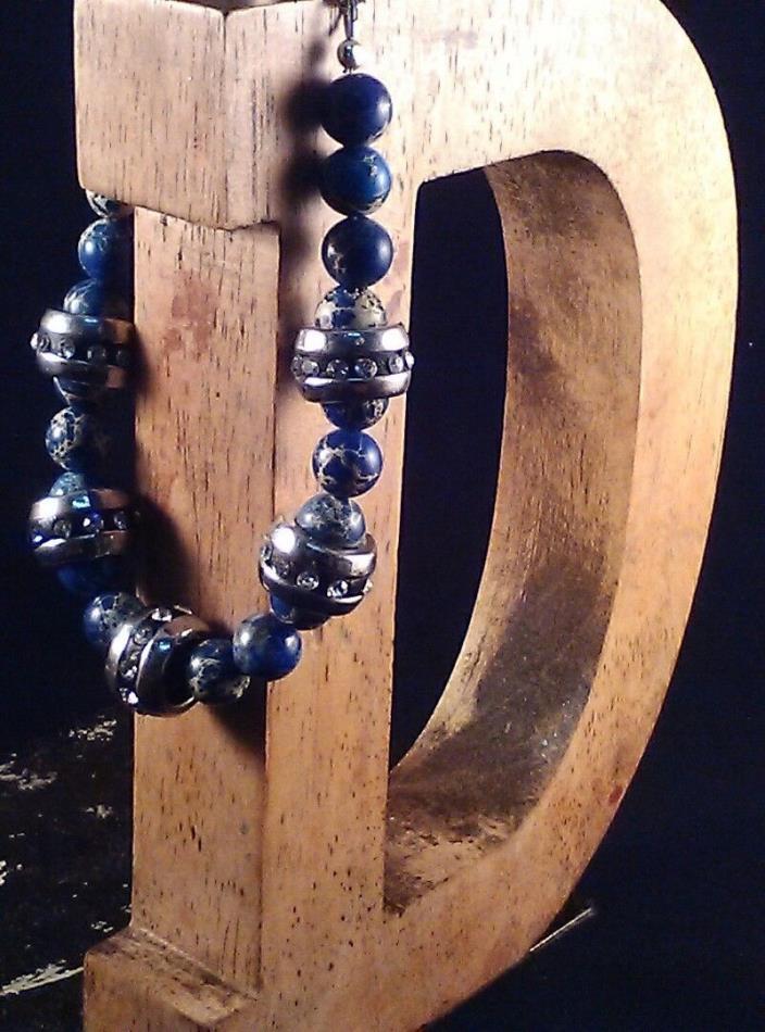 Gemstone Bracelet Dyed Blue Sea Sediment Jasper 8mm Round Beads