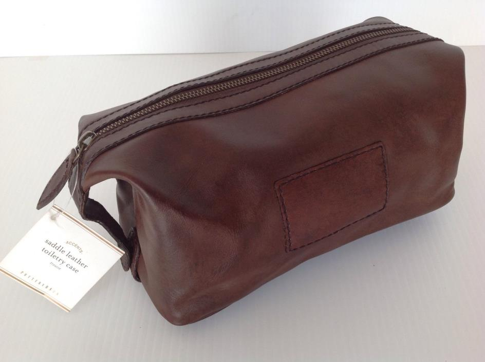 POTTERY BARN SADDLE LEATHER TOILETRY CASE NEW IN BOX FREE SHIPPING