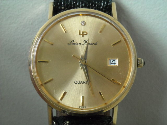 14K Solid Gold Diamond Dial Lucien Piccard Men's Date Swiss Watch & Box