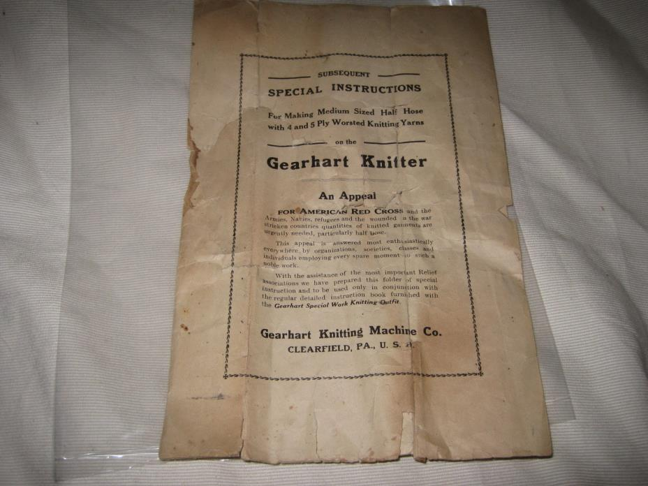 Gearhart Knitting Machine Red Cross Half Hose Sock Knitting Instructions WWI
