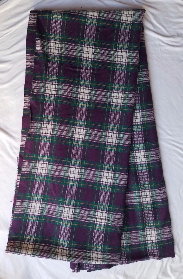 Vintage Pendleton Wool Blanket Remnant 56 x 232 Tartan Purple White Green - EUC
