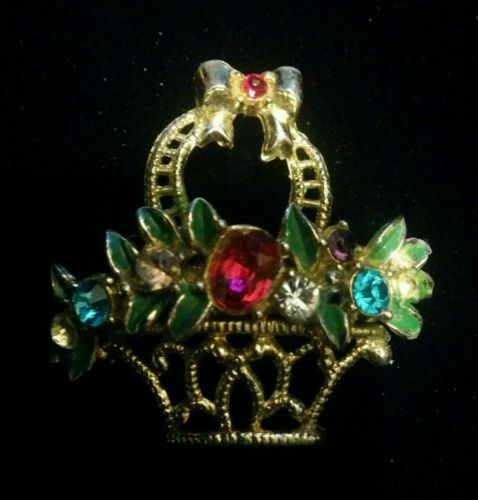 Vintage Flower Basket Rhinestone Brooch Goldtone Rhodium Costume Jewelry