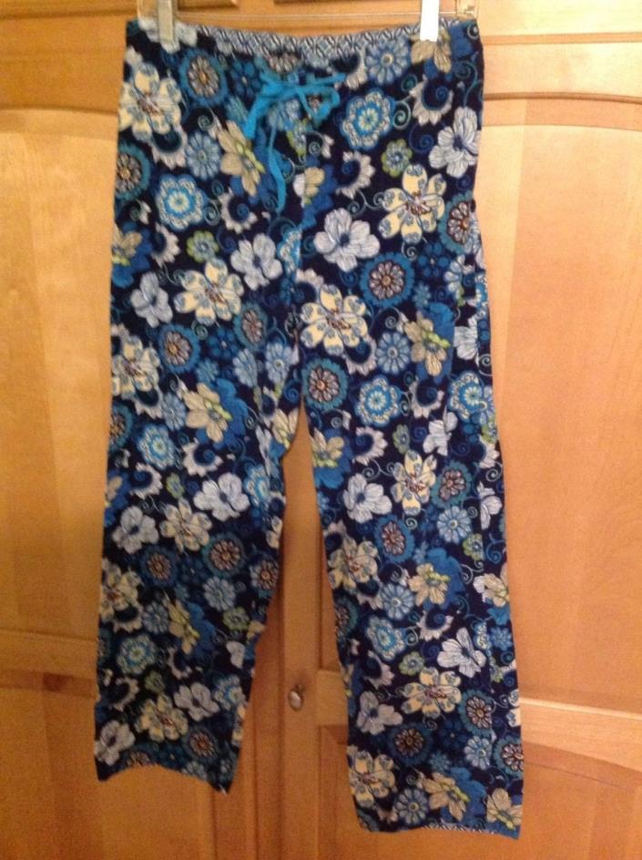 Vera Bradley Lounge Pajama Pants Corduroy Mod Floral Blue Size S Drawstring EUC