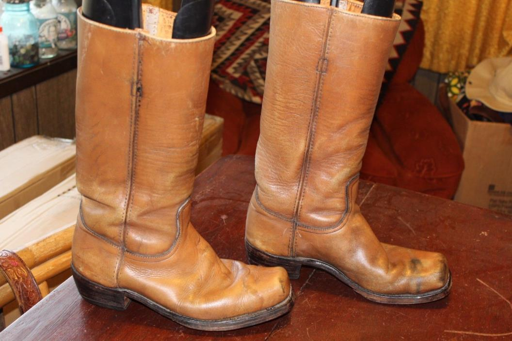 TALL VINTAGE DISTRESSED FRYE CAMPUS MOTORCYCLE BOOTS 9.5 D