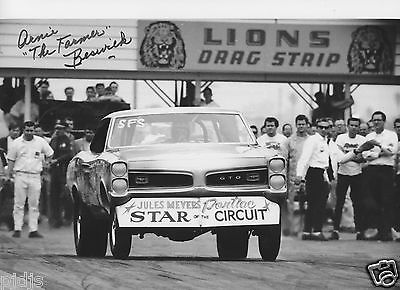 ARNIE BESWICK  AUTOGRAPHED GTO AT LIONS, JUNGLE, DYNO   8X10 DRAG RACING PHOTO