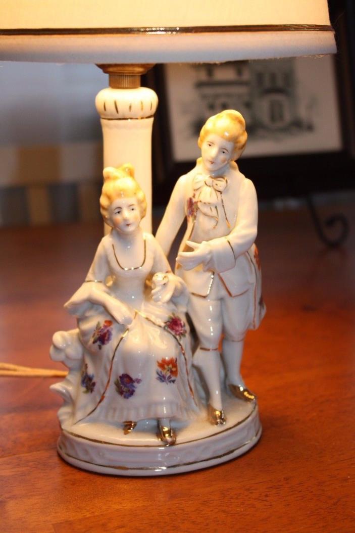 Vintage Victorian Colonial Couple Boudoir Porcelain Lamp Shabby Chic Japan