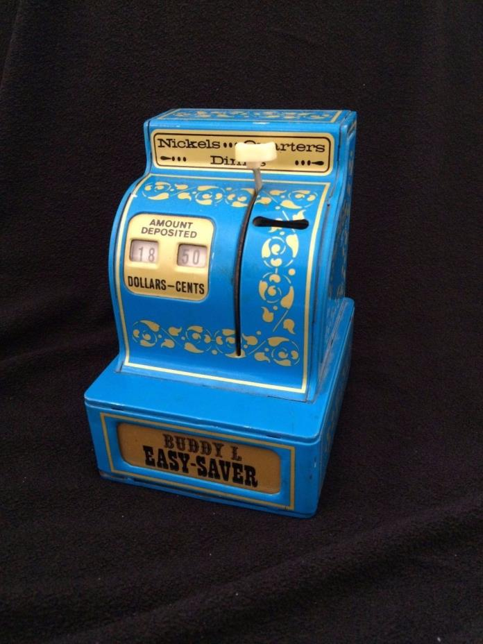 VTG Buddy L Easy Saver 3 Coin Metal Cash Register Bank BLUE CHILD'S SAVINGS TOY
