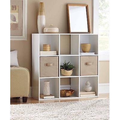 9 Cube Organizer Mainstays Book-Shelf Bookcase Cubbies Storage - White
