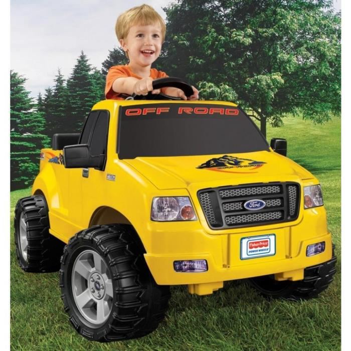 Yellow Lil Play F150 Ford 6-Volt Battery-Powered Ride-On Power Wheels Toy Truck