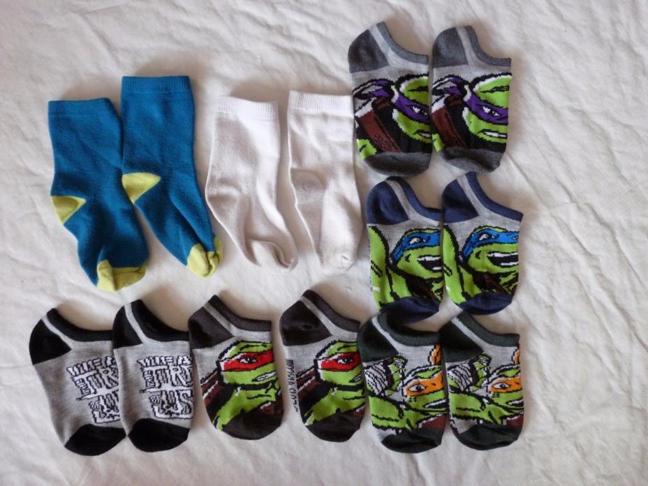 7 Pair Toddler Socks Boys 2T-4T Ninja Turtle Ankle Socks Used
