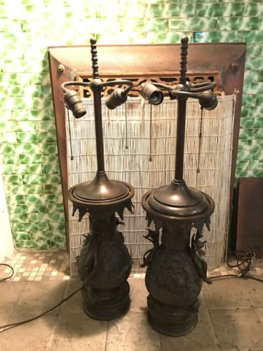 Pair of Marbro Bronze Asian Urn Table Lamps Massive *Must See*