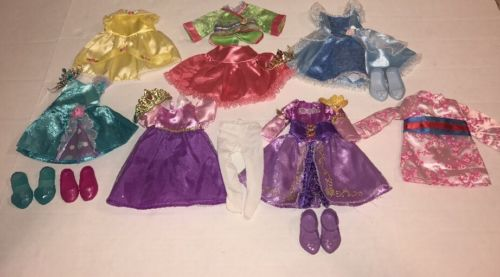 Lot of Disney TollyTots Toddler Dolls Dress Clothes Rapunzel Mulan  Belle Ariel