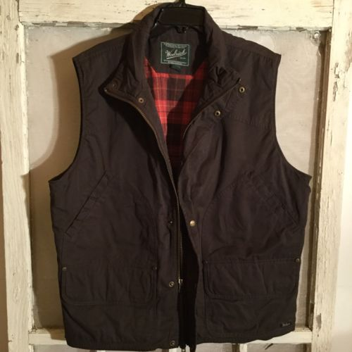 Men's Woolrich Fishing/Hunting Vest Lined Zip & Button Close Pockets Size XLarge
