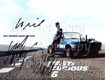 FAST FURIOUS Cast Diesel Paul Walker Rodriguez Brewster Signed Autograph REPRINT
