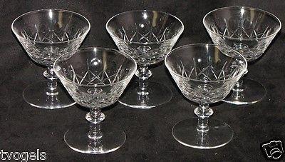 Edinburgh Crystal Olive and Cross Stem Champagne Dessert Dishes Goblets Glasses